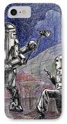 Rocket Man And Robot IPhone Case by Mel Thompson
