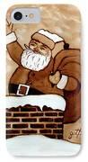 Santa Claus Gifts Original Coffee Painting IPhone Case by Georgeta  Blanaru