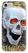 Skull Halloween Card IPhone Case by Debra     Vatalaro