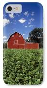 Soybean Field And Red Barn Near Anola IPhone Case