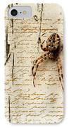 Spider Letter IPhone Case by Yvon van der Wijk