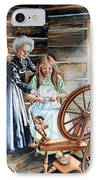 Spinning Wheel Lessons IPhone Case by Hanne Lore Koehler