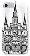 St Louis Cathedral On Jackson Square In The French Quarter New Orleans Photocopy Digital Art IPhone Case