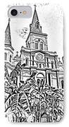 St Louis Cathedral Rising Above Palms Jackson Square New Orleans Photocopy Digital Art IPhone Case by Shawn O'Brien