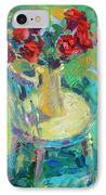 Sunny Impressionistic Rose Flowers Still Life Painting IPhone Case