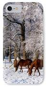 Thoroughbred Horses, Mares In Snow IPhone Case by The Irish Image Collection