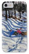 Two Boys Falling Off A Sledge IPhone Case by Andrew Macara