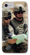 U.s. Army Soldiers Talking With A Town IPhone Case by Stocktrek Images