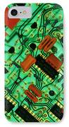 View Of A Circuit Board From An Alarm System IPhone Case by Chris Knapton