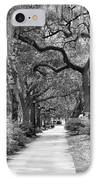 Walking Through The Park In Black And White IPhone Case by Suzanne Gaff