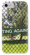 Warning Sign On Chain Fence IPhone Case by Thom Gourley/Flatbread Images, LLC
