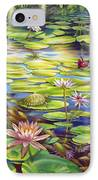Water Lilies At Mckee Gardens I - Turtle Butterfly And Koi Fish IPhone Case