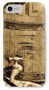 Weathered Wooden Bucket In Sepia IPhone Case by Paul Ward