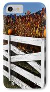 White Fence With Pumpkins IPhone Case