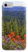 Wildflowers And Mountaintop View IPhone Case by Ellen Thane and Photo Researchers