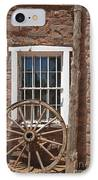 Window In Stone Building With Wagon Wheel IPhone Case by Thom Gourley/Flatbread Images, LLC