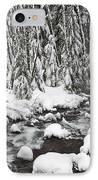 Winter Snow Along Still Creek In Mt IPhone Case by Craig Tuttle