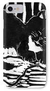 Yarn Cat  Block Print IPhone Case by Ellen Miffitt