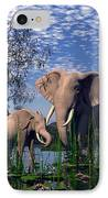 Baby Elepant An Mother At A Pond IPhone Case