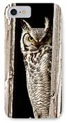 Great Horned Owl Perched In Barn Window IPhone Case by Mark Duffy