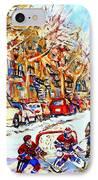 Hockey Game On Colonial Street  Near Roy Montreal City Scene IPhone Case by Carole Spandau