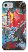 Patty's Harbour Original Abstract Colorful Landscape Painting For Sale Blue Green Red IPhone Case