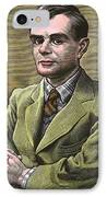 Alan Turing, British Mathematician IPhone Case by Bill Sanderson
