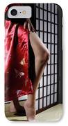 Asian Woman In Red Kimono IPhone Case by Oleksiy Maksymenko