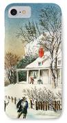 Bringing Home The Logs IPhone Case by Currier and Ives