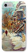 Montreal Street In Winter IPhone Case by Carole Spandau