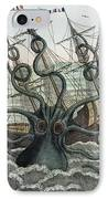 1815 Collosal Polypus Octopus And Ship IPhone Case by Paul D Stewart