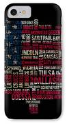 Usa Main Cities Flag Map IPhone Case by Cedric Darrigrand