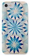 4 Blue Flowers Mandala IPhone Case by Andrea Thompson