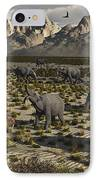 A Sabre-toothed Tiger Stalks A Herd IPhone Case by Mark Stevenson