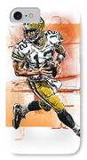 Aaron Rodgers Scrambles IPhone Case by Maria Arango