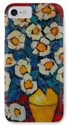 Abstract Wild White Roses Original Oil Painting IPhone Case