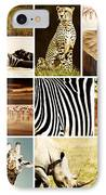 African Animals Safari Collage  IPhone Case by Anna Om
