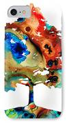All Seasons Tree 3 - Colorful Landscape Print IPhone Case by Sharon Cummings