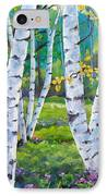 Alpine Flowers And Birches  IPhone Case