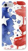 American Flag Watercolor Painting IPhone Case