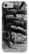 Angel Oak Tree 2009 Black And White IPhone Case by Louis Dallara