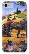 Raking Hay Field Rustic Country Farm Folk Art Landscape IPhone Case