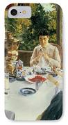 At The Tea-table IPhone Case by Konstantin Alekseevich Korovin