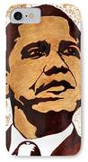 Barack Obama Words Of Wisdom Coffee Painting IPhone Case by Georgeta  Blanaru