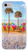 Beach Umbrella Lineup IPhone Case by Michael Garyet