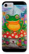 Big Green Frog On Red Mushroom IPhone Case by Nick Gustafson