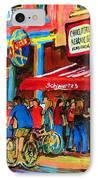 Biking Past The Deli IPhone Case by Carole Spandau