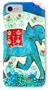 Blue Elephant Facing Right IPhone Case by Sushila Burgess