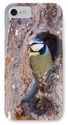 Blue Tit Leaving Nest IPhone Case by Cliff Norton