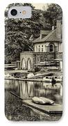 Boathouse Row In Sepia IPhone Case by Bill Cannon